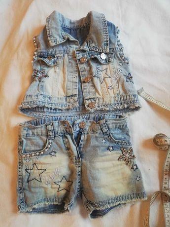 Летний джинсовый костюм шорты +топик