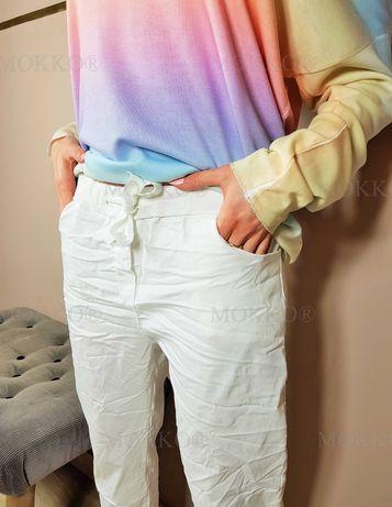 UWAGA!WYPRZEDAŻ!Białe gnieciuchy gniecione spodnie damskie UNIWERSALNE