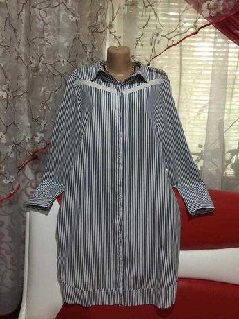 платье-рубашка в полоску,декор-прошва ,рукава укорачиваются)как новое!