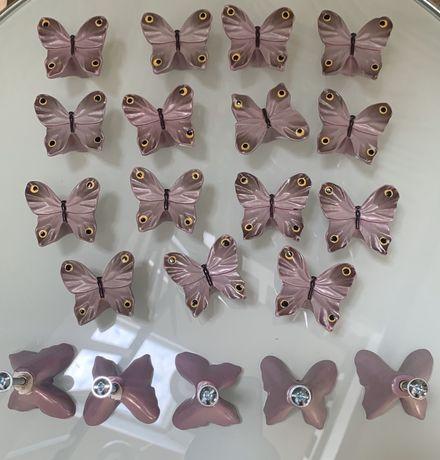 Uchwyty, gałki do szuflad, różowe motylki, 20 sztuk