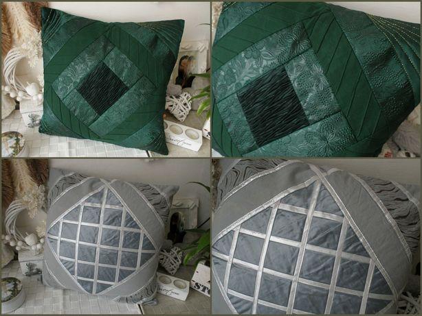 2x poduszka poszewka jasiek retro zgnita zielen butelkowa szry srebrny