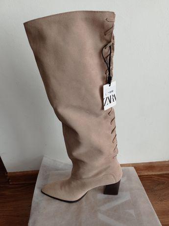 Zara, skórzane buty, kozaki z plecionką, r.40