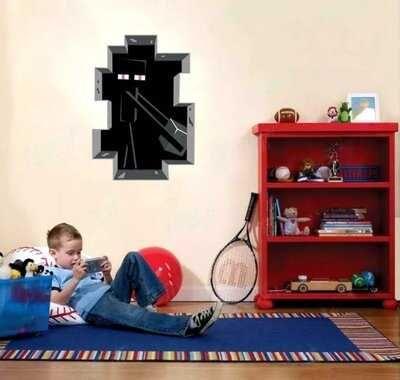 Виниловая наклейка на стену Майнкрафт,Эдермен.Ребёнок будет в восторге