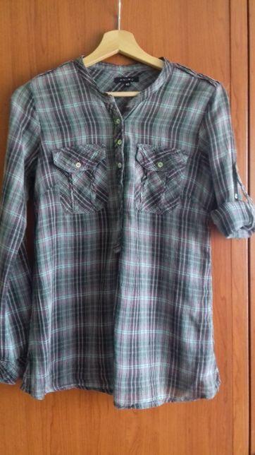 Luźna bluzka koszulowa z regulowanym rękawem