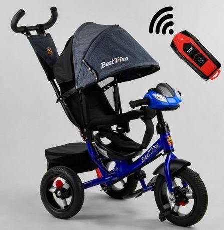 Трёхколёсный велосипед коляска детский, серо-синий, USB, Пульт