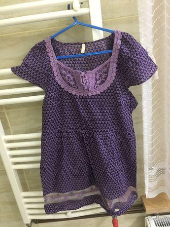 Nowa fioletowa tunika z ozdobnym dołem! Rozmiar L