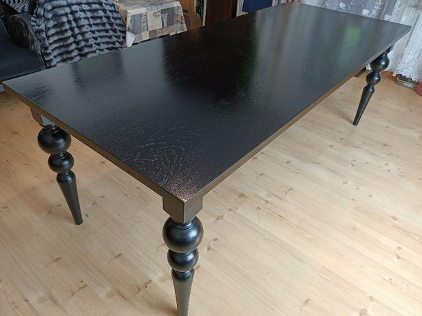 Oryginalny czarny stół - lite drewno dębowe