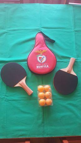 Par Raquetes Ping Ping com bolsa do Benfica + oferta de 6 bolas