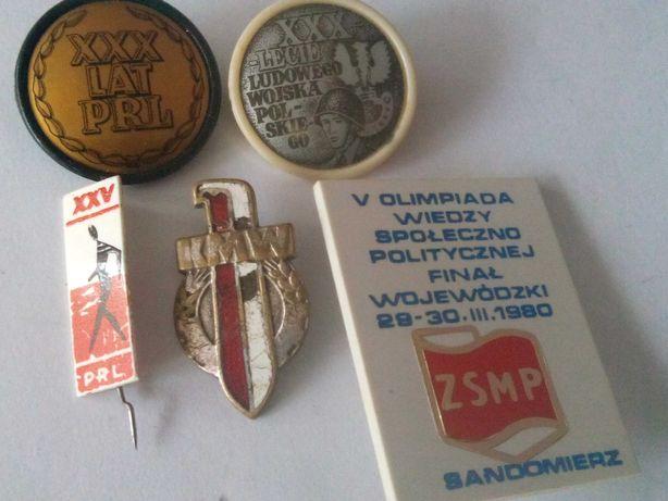 Odznaki 30 lat PRL i inne.