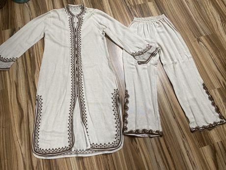 Oryginalny strój arabski Maroko len rozm L handmade tunika spodnie