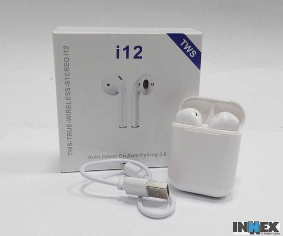 Słuchawki Bezprzewodowe i12 TWS BT 5.0 białe