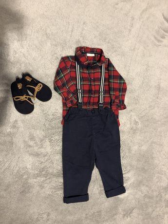 Боди-рубашка,брюки на подтяжках,бабочка,туфли на мальчика Next