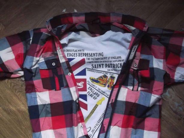 Рубашка в клетку + футболка