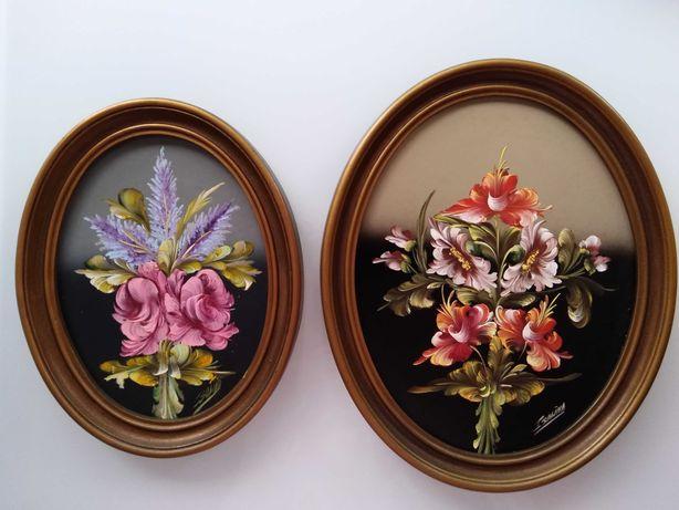 2 Quadros pintura flores