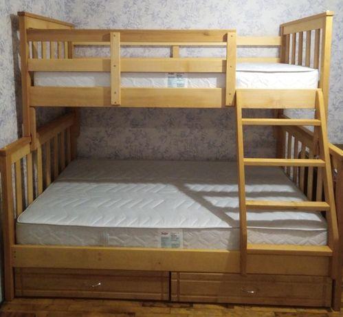 Двухъярусная буковая кровать Лозанна 90/140х200 см с ящиками