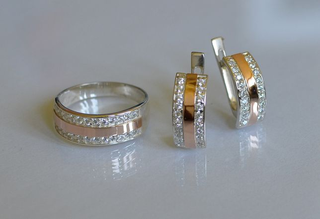 Гарнитур(набор) Серебро с пластинами золота