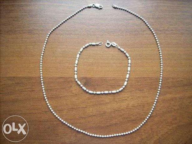 Srebrny łańcuszek splot kulkowy z bransoletą, próba 925 Włoski !!!