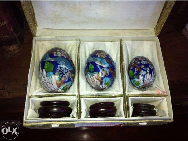 Conjunto cloisonne antiguidade chinesa