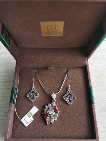 Komplet biżuterii Yes ze srebra z markazytami i granatami pr. 925