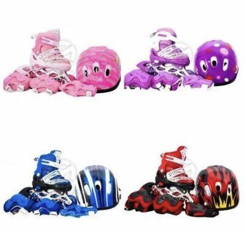 Ролики детские Maraton р28-33/ Комплект защита , шлем и ролики