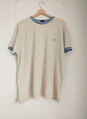 Kremowa t-shirt marki Gant