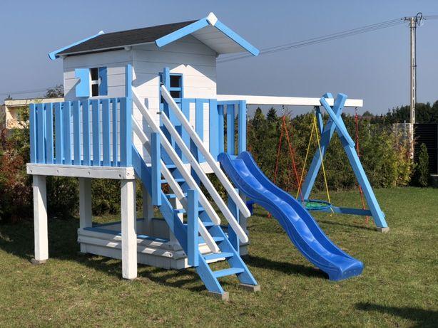 Plac zabaw dla dzieci domek zjeżdżalnia huśtawka piaskownica