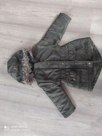 kurtka parka khaki rozmiar 92 dla dziewczynki