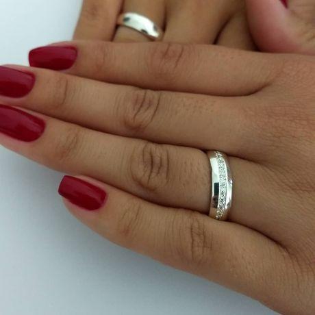 Wyjątkowo Elegancka Para Srebrnych Obrączek Ślubnych