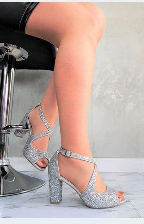 Srebrne słupki buty