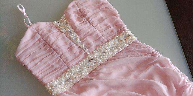 Sukienka pudrowy róż pudrowa perły perełki 34 XS