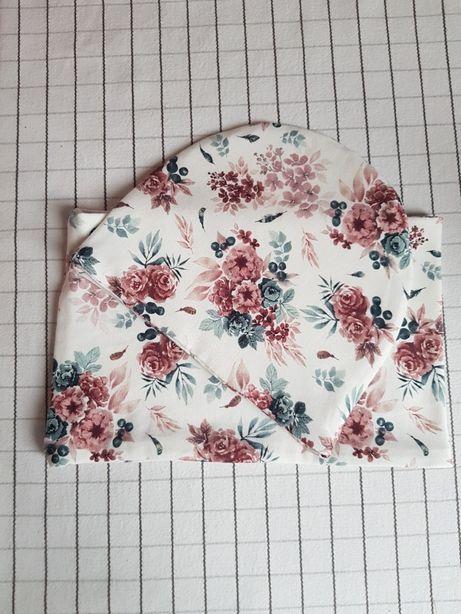 Komplet czapka i komin kwiaty roz.68/74