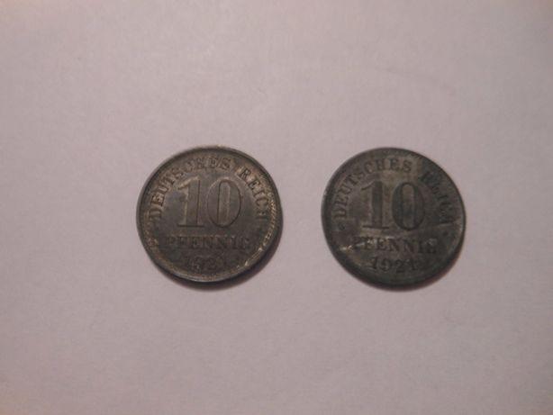 Dwie monety dziesięcio fenigowe z 1921 r.