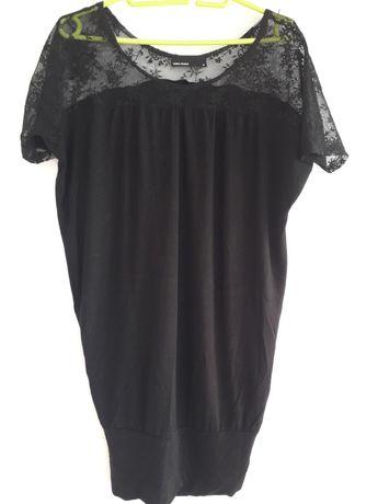 Bluzka tunika M L vero moda elegancka czarna dluga z koronka