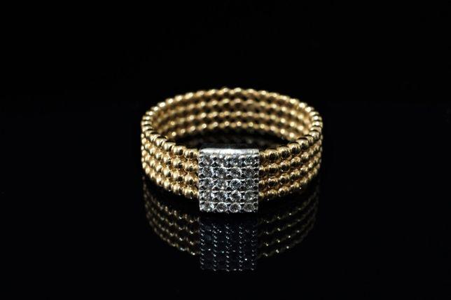 Złoto 585 - NOWY złoty pierścionek CELEBRYTKA z cyrkoniami