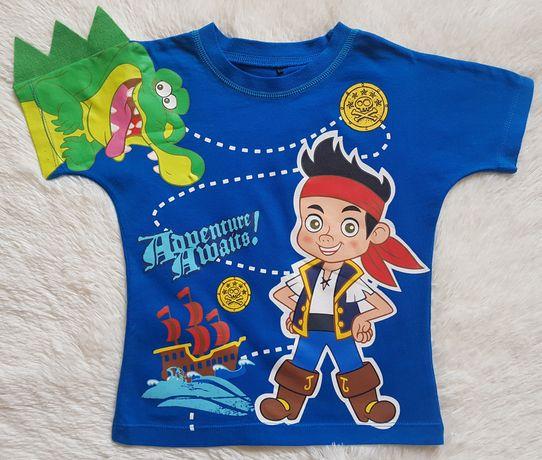 Śliczny t-shirt chłopięcy Piraci z Nibylandii Disney, rozmiar 92-98