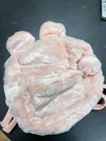 Плюшевый рюкзак, портфель, сумка для ребенка или взрослого розовый беж