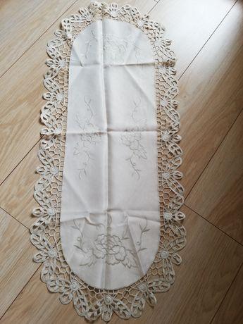 Komplet 7 szt. obrus biały ecru kremowy świąteczny serwetki ozdobne