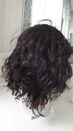 Włosy naturalne . Peruka ciemny brąz. Nowa