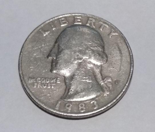 Монета Liberty QUARTER DOLLAR 1983 год, США