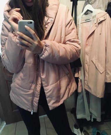 kurtka ciepła pudrowo różowa kurtka puchowa parka plaszcz