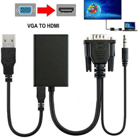 Victsing Professional VGA Macho to 1080P HD HDMI + TV AV Audio Video