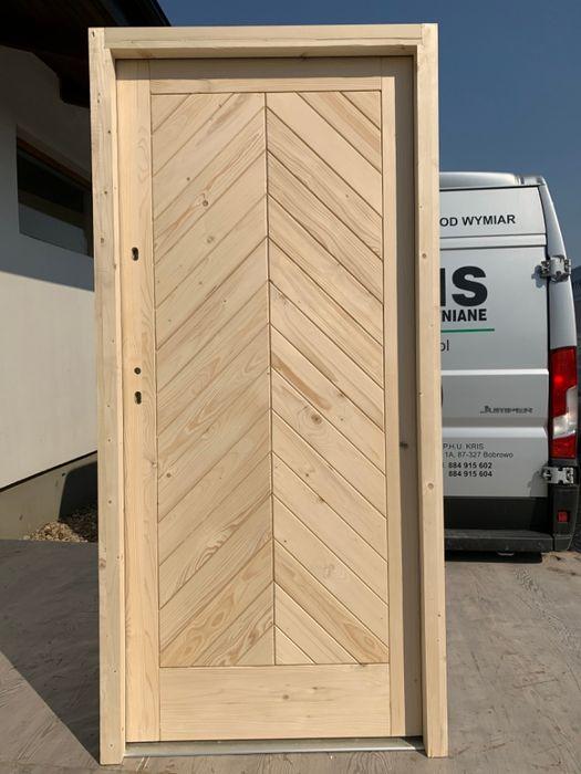 Drzwi ZEWNĘTRZNE jodełka 7,5cm drewniane DOSTĘPNE OD RĘKI Grzybno - image 1