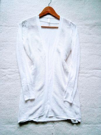 Freequent zalando kardigan sweter śnieżna biel casual paski markowy M