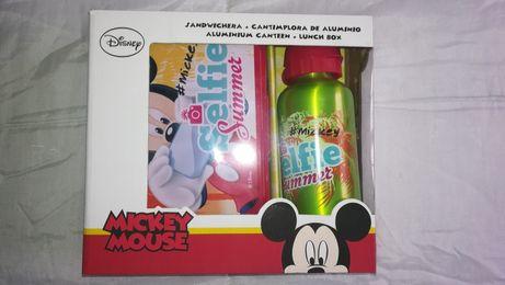 NOVO na Caixa - Lancheira + Garrafa de Alumínio Mickey