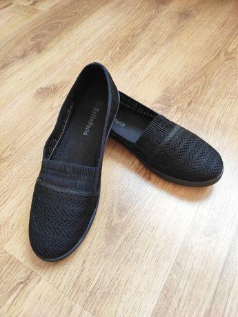 Czarne ażurowe materiałowe baleriny espadryle