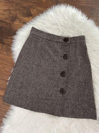 Jesienna ciepła spódnica guziki brązowa Bialcon M