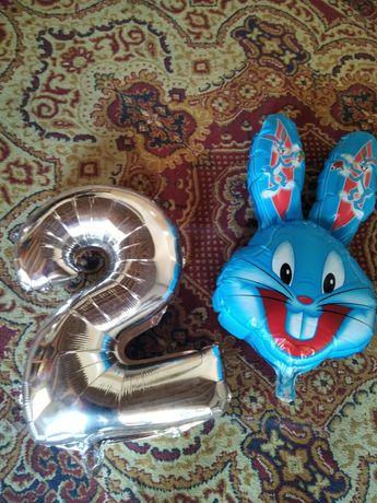 Шар шарик воздушный цифра 2 два надувной голова зайца