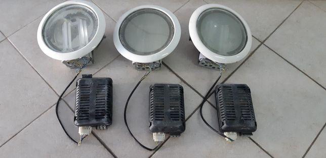 Projectores de embutir tecto falso diametro 20cm - usados