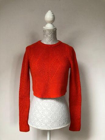 Sweter krótki pomarańczowy Zara crop top S 36 sweterek