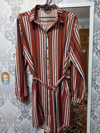 Платье-рубашка в полоску, плаття, трапеция, рукав 3/4, рубаха